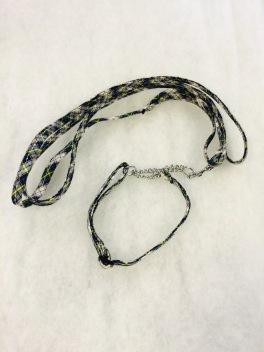 Koppelset med kedja i grå/gul/blå. 9mm